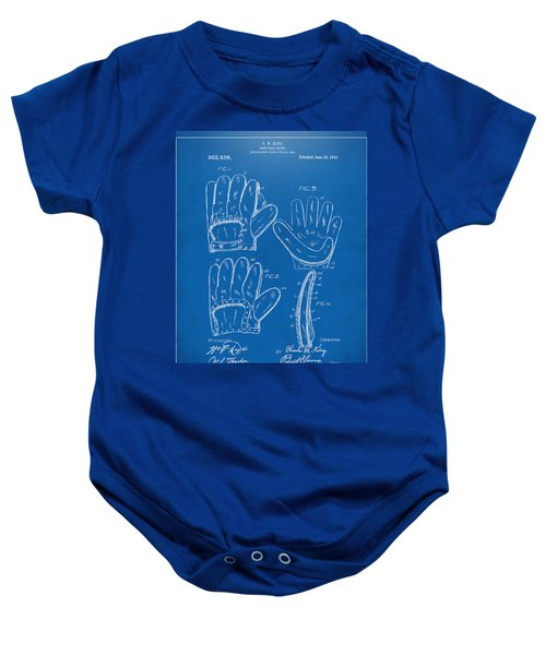 1910 Baseball Glove Patent Artwork Blueprint Baby Onesie by Nikki Marie Smith