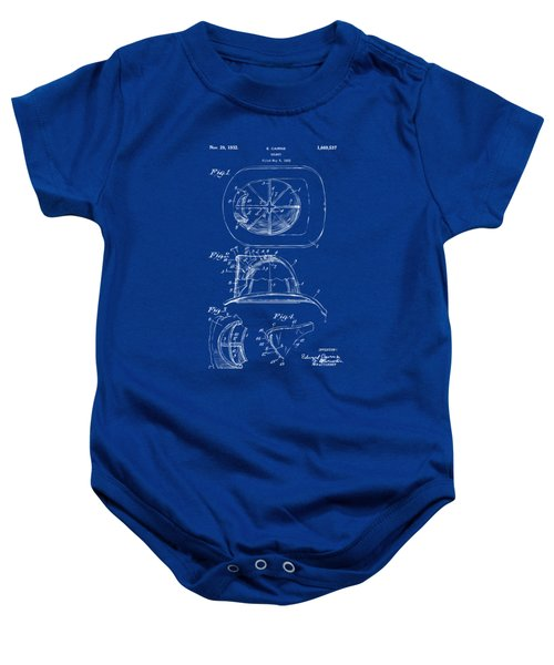 1932 Fireman Helmet Artwork Blueprint Baby Onesie
