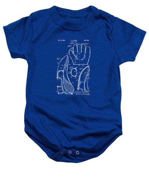 1941 Baseball Glove Patent - Blueprint Baby Onesie by Nikki Marie Smith