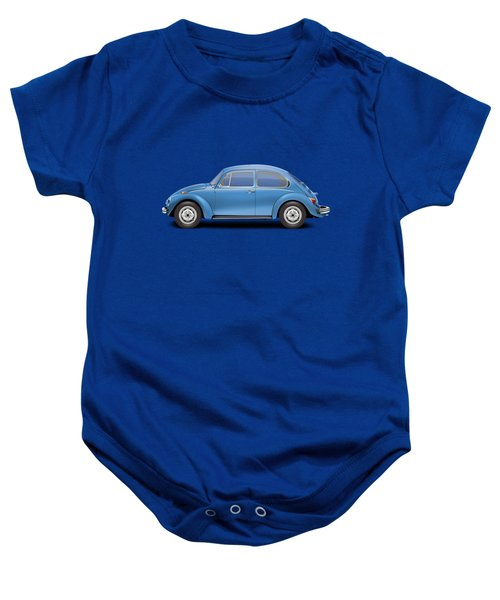 1975 Volkswagen Super Beetle - Ancona Blue Metallic Baby Onesie by Ed Jackson