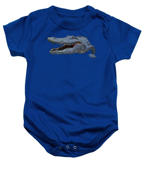 1998 Bull Gator Up Close Transparent For Customization Baby Onesie by D Hackett