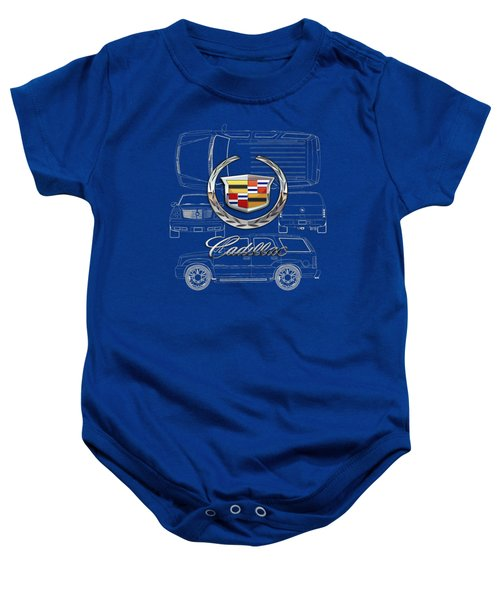 Cadillac 3 D Badge Over Cadillac Escalade Blueprint  Baby Onesie by Serge Averbukh