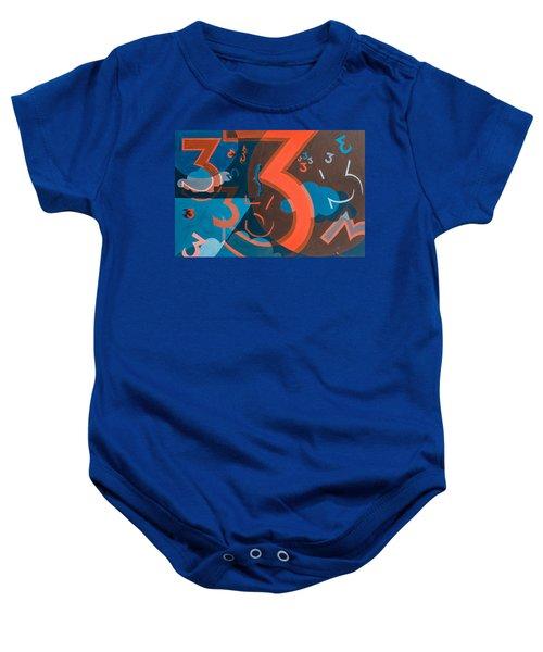 3 In Blue And Orange Baby Onesie