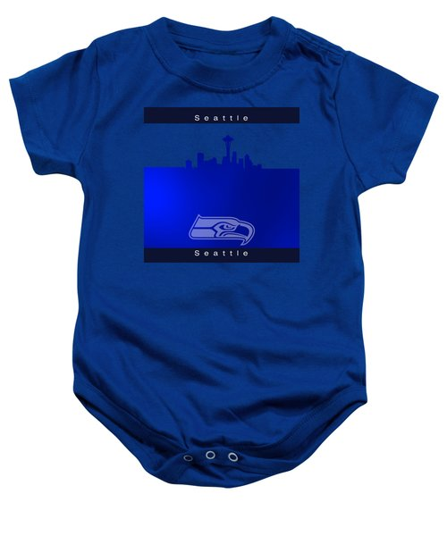 Seattle Seahawks Skyline Baby Onesie by Alberto RuiZ