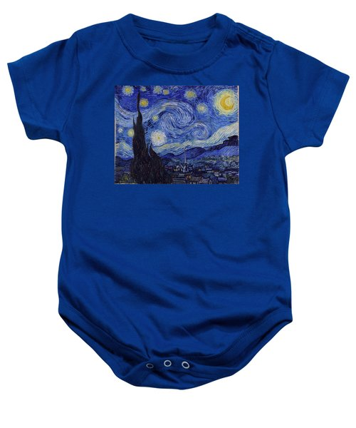 Baby Onesie featuring the painting Starry Night by Van Gogh