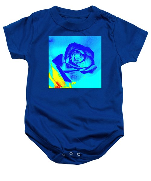 Single Blue Rose Abstract Baby Onesie