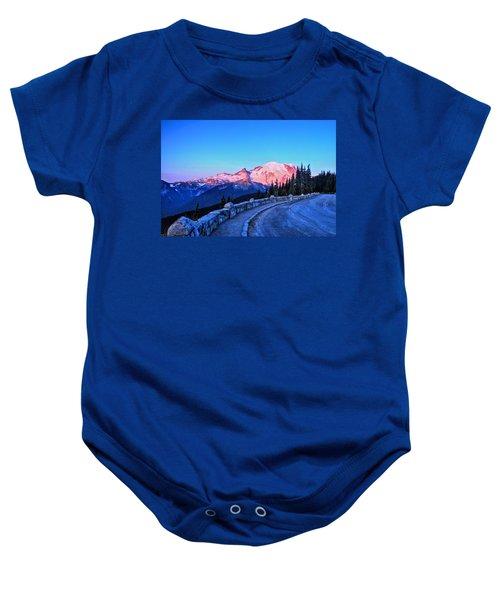 Alpenglow At Mt. Rainier Baby Onesie