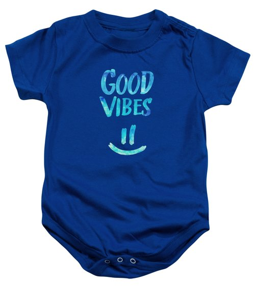 Good Vibes  Funny Smiley Statement Happy Face Blue Stars Edit Baby Onesie