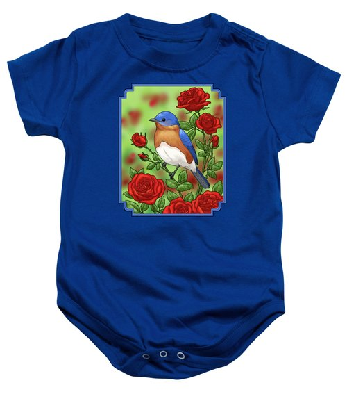New York State Bluebird And Rose Baby Onesie by Crista Forest