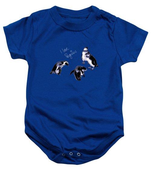 Cute Penguins Baby Onesie by Pennie  McCracken