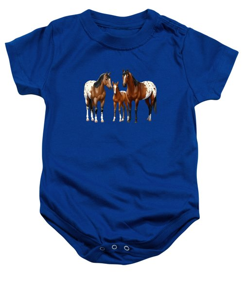 Bay Appaloosa Horses In Winter Pasture Baby Onesie