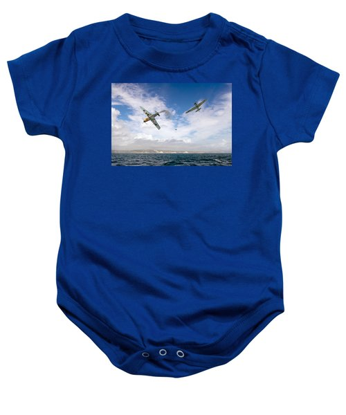 Baby Onesie featuring the photograph Bf109 Down In The Channel by Gary Eason