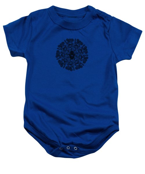 Black And White Hamsa Mandala- Art By Linda Woods Baby Onesie