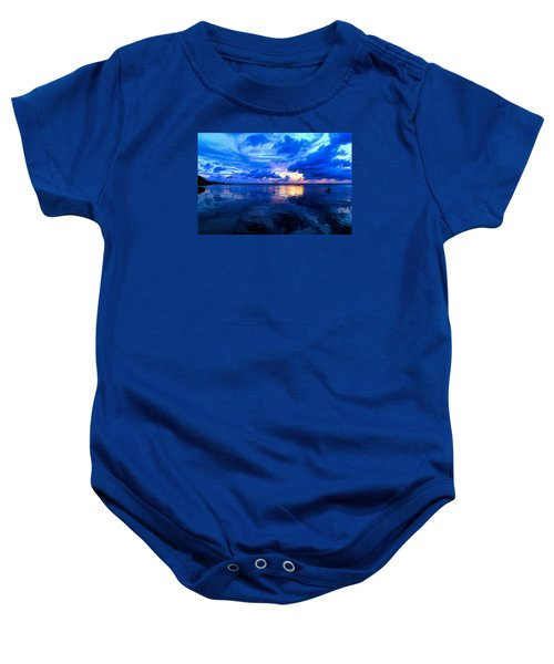 Baby Onesie featuring the photograph Blazing Blue Sunset by Anthony Baatz