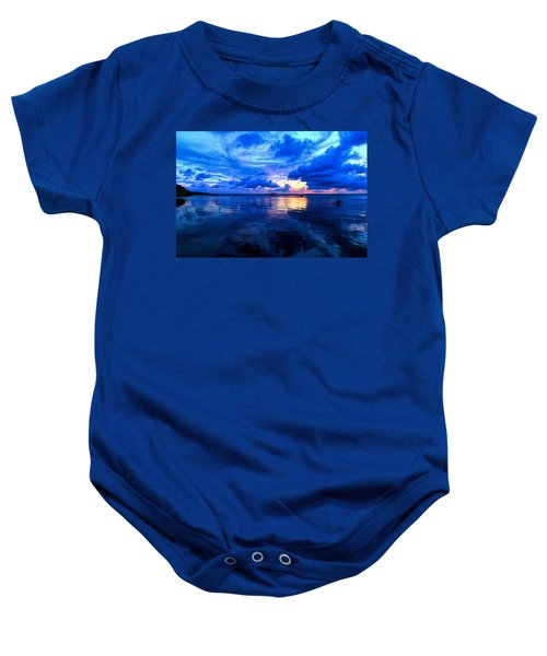 Blazing Blue Sunset Baby Onesie