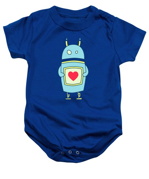 Blue Cute Clumsy Robot With Heart Baby Onesie