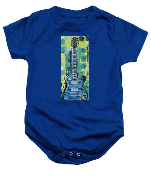 Blue Gibson Guitar Baby Onesie
