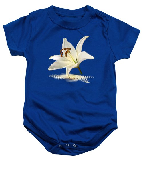Blue Horizons - White Lily Baby Onesie by Gill Billington