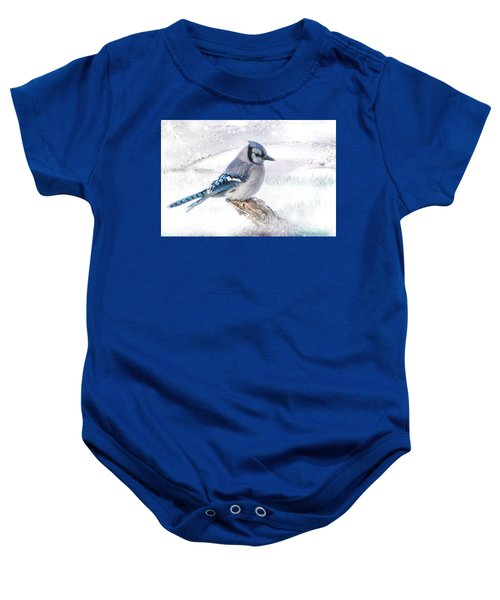 Blue Jay Snow Baby Onesie