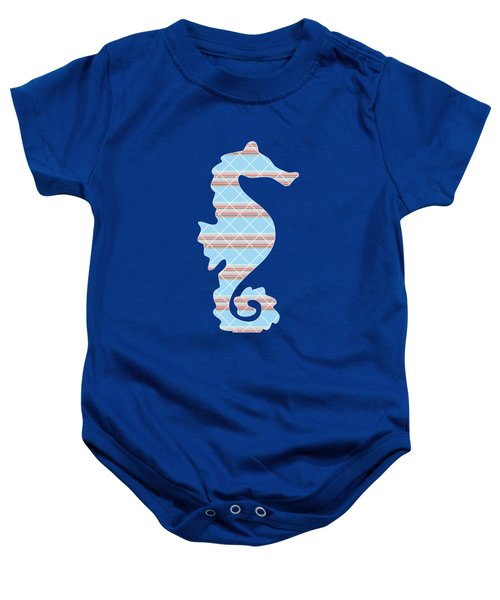 Blue Seahorse Art Baby Onesie by Christina Rollo
