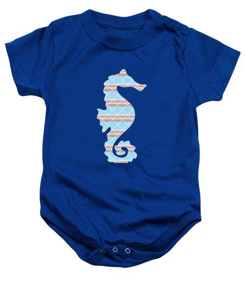 Blue Seahorse Art Baby Onesie by Christina Rollo