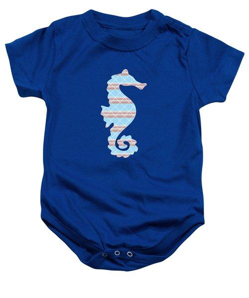 Blue Seahorse Art Baby Onesie