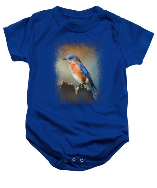 Bluebird On The Fence Baby Onesie
