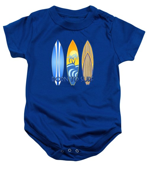 Born To Surf And Tiki Masks Baby Onesie by Chris MacDonald
