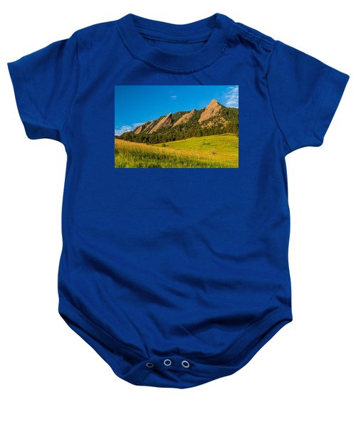 Boulder Colorado Flatirons Sunrise Golden Light Baby Onesie