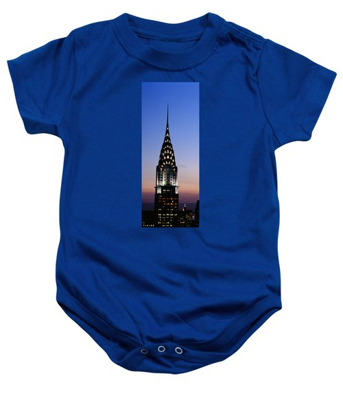 Building Lit Up At Twilight, Chrysler Baby Onesie by Panoramic Images