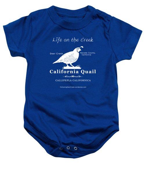 California Quail - White Graphics Baby Onesie