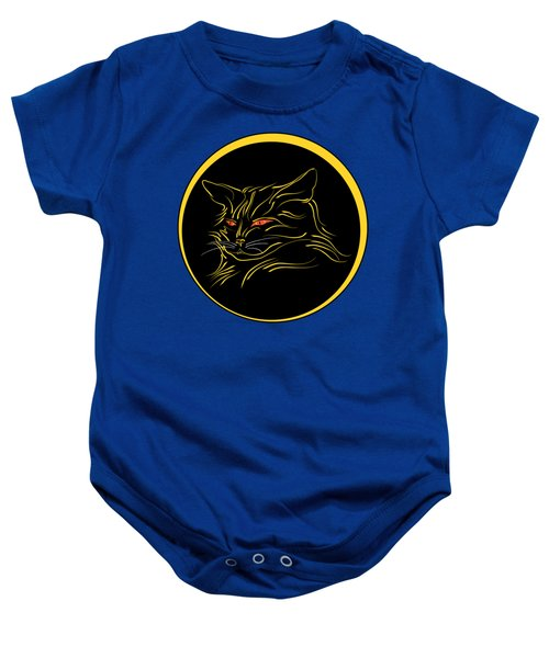 Calligraphic Black Cat And Moon Baby Onesie