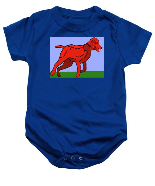 Cartoon Romping Miniature Apricot Poodle Baby Onesie