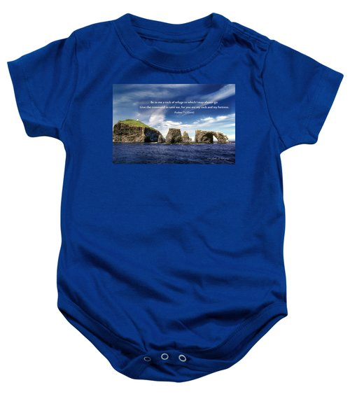 Channel Island National Park - Anacapa Island Arch With Bible Verse Baby Onesie