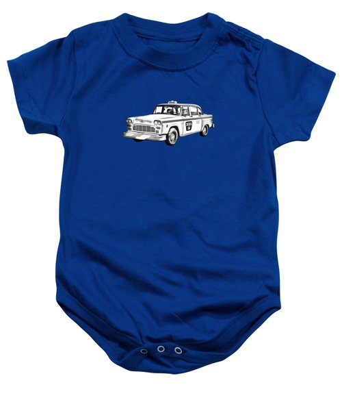 Checkered Taxi Cab Illustrastion Baby Onesie