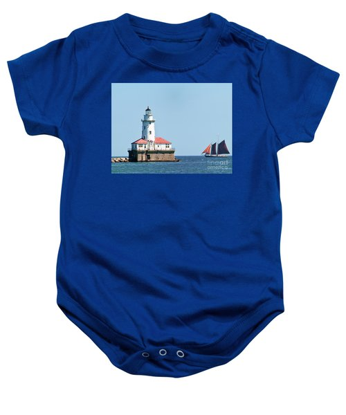 Chicago Harbor Lighthouse And A Tall Ship Baby Onesie