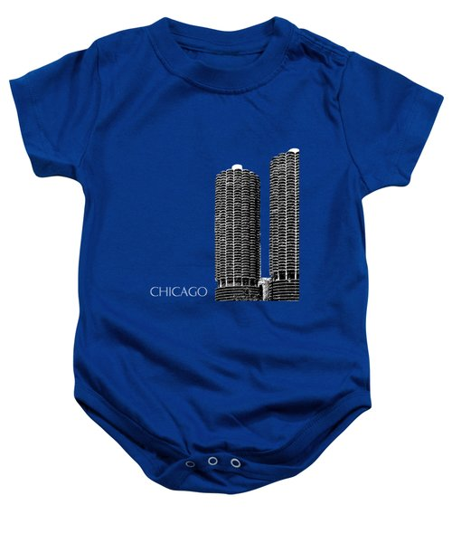 Chicago Skyline Marina Towers - Teal Baby Onesie