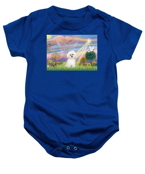 Cloud Angel And Bichon Frise Baby Onesie