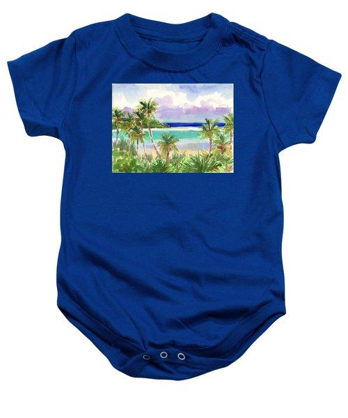Coconut Palms And Lagoon, Aitutaki Baby Onesie