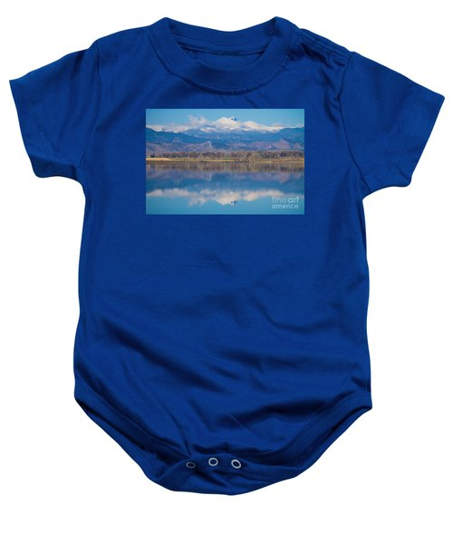 Colorado Longs Peak Circling Clouds Reflection Baby Onesie