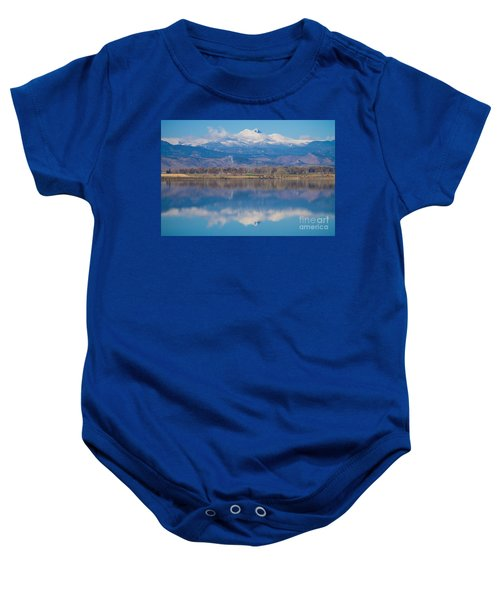 Colorado Longs Peak Circling Clouds Reflection Baby Onesie