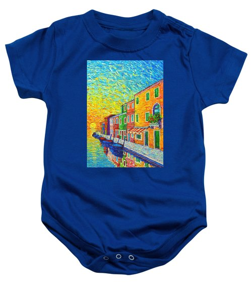 Colorful Burano Sunrise - Venice - Italy - Palette Knife Oil Painting By Ana Maria Edulescu Baby Onesie