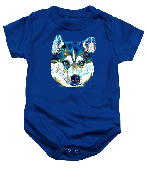 Colorful Husky Dog Art By Sharon Cummings Baby Onesie by Sharon Cummings