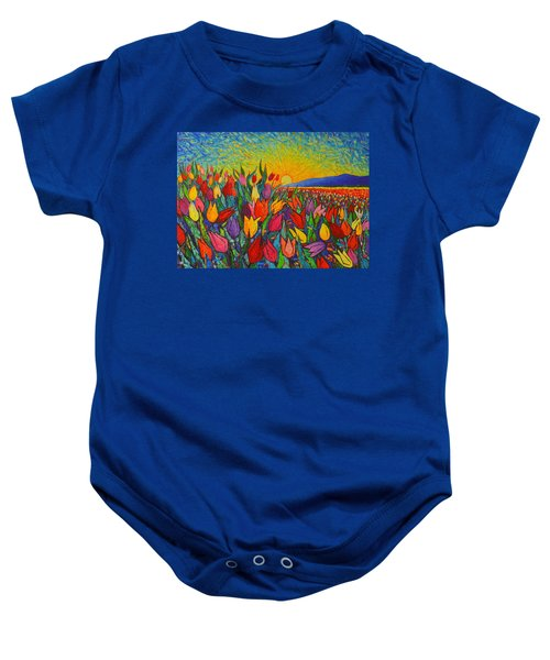 Colorful Tulips Field Sunrise - Abstract Impressionist Palette Knife Painting By Ana Maria Edulescu Baby Onesie