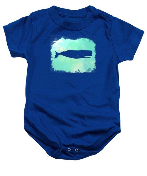 Colorful Watercolor Sperm Whale Sea Life Coastal Art Baby Onesie