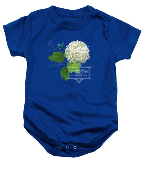 Cottage Garden White Hydrangea With Blue Butterfly Baby Onesie by Audrey Jeanne Roberts