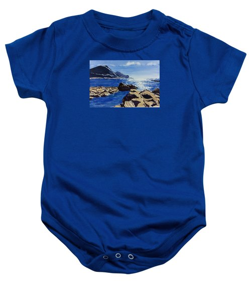 Baby Onesie featuring the painting Crackington Haven Sparkle by Lawrence Dyer
