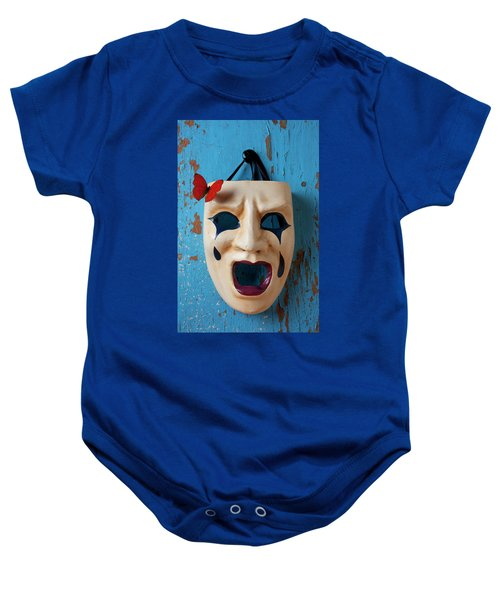 Crying Mask And Red Butterfly Baby Onesie