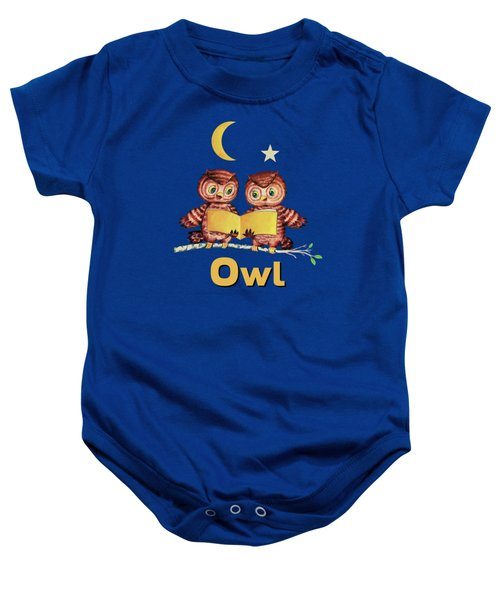 Cute Baby Owls Starry Night And Moon Baby Onesie by Tina Lavoie