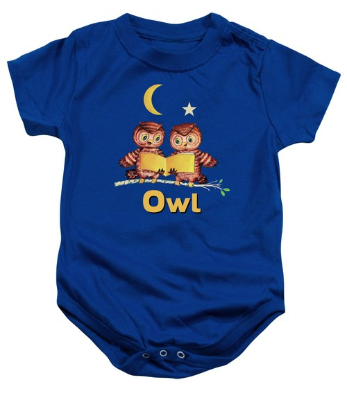 Cute Baby Owls Starry Night And Moon Baby Onesie